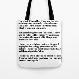 for what it's worth - fitzgerald quotes Tote Bag