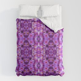 Violet Purple White Flower Pattern Comforters