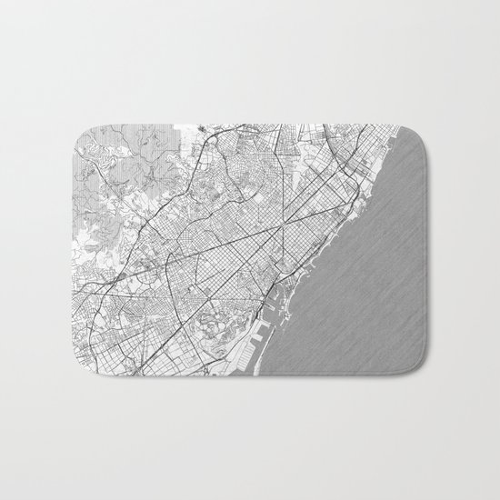 Barcelona Map Line Bath Mat