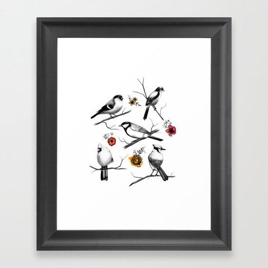 BIRDS & FLOWERS Framed Art Print