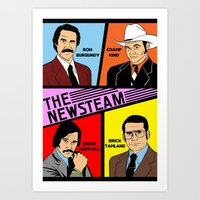 anchorman Art Prints featuring The Newsteam - Anchorman by Buby87