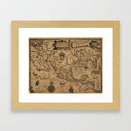 Vintage Map of Mexico (1600) Framed Art Print