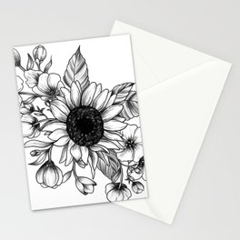 Bouquet of Flowers with Sunflower / Fall floral lineart Stationery Cards