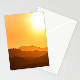 Orange Monochromatic Mountain Landscape Parallax Silhouette Yellow Orange Sunset Hues Stationery Cards