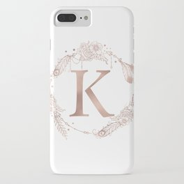 Letter K Rose Gold Pink Initial Monogram iPhone Case