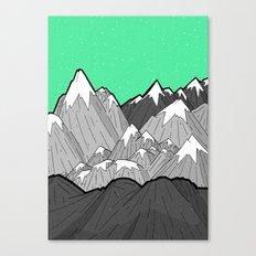Green Sky Mounts Canvas Print