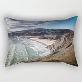 Three Cliffs Bay Gower Rectangular Pillow
