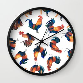 Rise of the Rooster // watercolor roosters standing and crowing Wall Clock