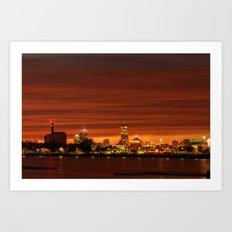 Boston, Christams night - Sundusk Art Print