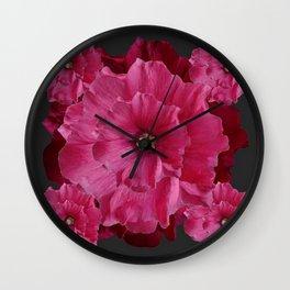 FUCHSIA-PINK  DOUBLE  HOLLYHOCK FLOWERS GARDEN Wall Clock
