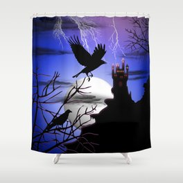 Raven's Haunted Castle Shower Curtain