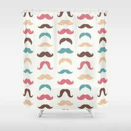 Hipster Moustache Pattern – Vintage Red Brown Teal and Yellow Shower Curtain