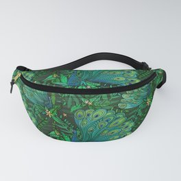 Peacocks in Emerald Forest Fanny Pack