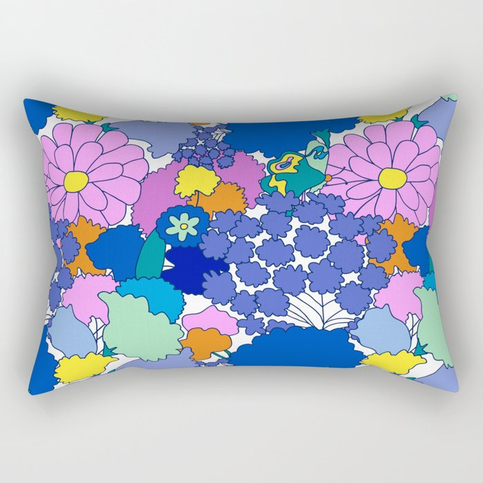 Far-Out 60's Floral in White Rectangular Pillow
