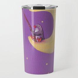 Purple penguin fishing on moon while blue penguin dreams Travel Mug