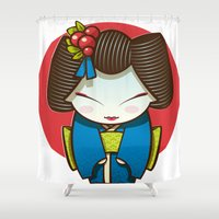 geisha Shower Curtains featuring Geisha by Sara Penco