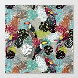 Tropical Birds (Color 2 - Bold) Canvas Print