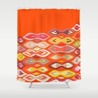 ikat Shower Curtains featuring Raveena ikat by Sharon Turner