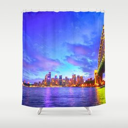 Famous Sydney City Harbour Bridge At Romantic Evening Red Opera House Australia Ultra HD Shower Curtain
