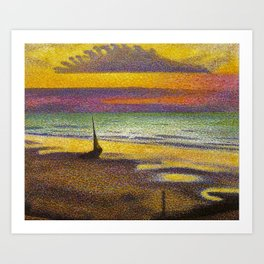 Classical Masterpiece 'Beach at Heist' by Georges Lemmen Art Print