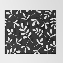 White on Black Assorted Leaf Silhouettes Throw Blanket