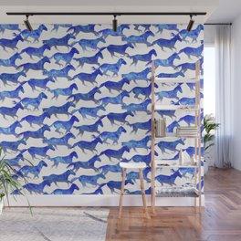 Running Watercolor Horses Pattern - Blue Wall Mural