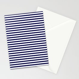 Navy Blue & White Maritime Small Stripes - Mix & Match with Simplicity of Life Stationery Cards