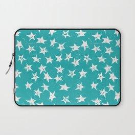 Linocut Stars - Verdigris & White Laptop Sleeve
