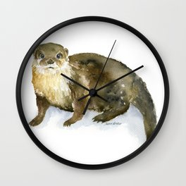 River Otter Watercolor Wall Clock