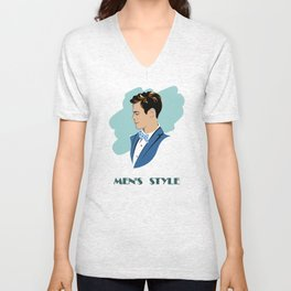 Stylish Men with a neat hairstyle, blazer and bow tie Unisex V-Neck