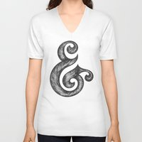 ampersand V-neck T-shirts featuring Ampersand by Norman Duenas