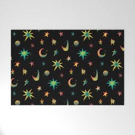 Colorful Watercolor Stars and Moons Pattern Welcome Mat