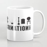 battlestar galactica Mugs featuring Beyond imagination: Battlestar Galactica postage stamp  by Chungkong
