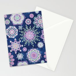 Folky SnowFlowers Stationery Cards