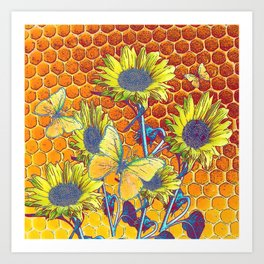GREY-YELLOW BUTTERFLIES & SUNFLOWERS ARTISTIC HONEYCOMB DRAWING Art Print