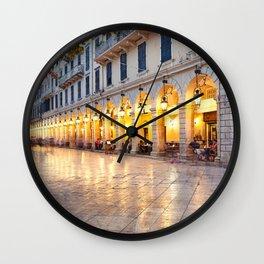 Liston square in the town of Corfu, Greece Wall Clock