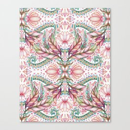 Lily, Leaf & Triangle Pattern – multi-color version Canvas Print