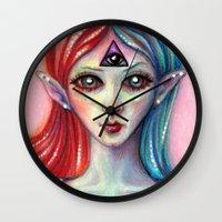 third eye Wall Clocks featuring Third Eye by Mary Nason (MiaSnow)