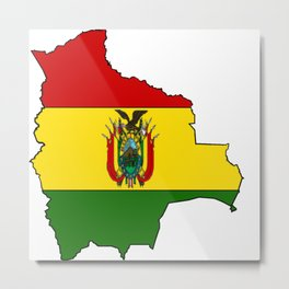 Bolivia Map with Bolivian Flag Metal Print