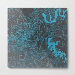 Nashville map blue Metal Print