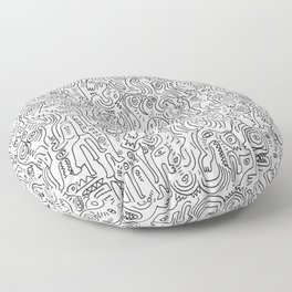 Graffiti Black and White Pattern Doodle Hand Designed Scan Floor Pillow