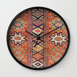 Southwestern Farmhouse III // 19th Century Colorful Red Yellow Blue Green Aztec Farm Stars Pattern Wall Clock