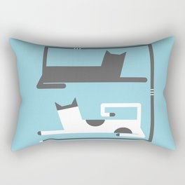CATS IN LOVE BLUE (abstract animals) Rectangular Pillow