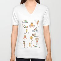 gym V-neck T-shirts featuring Gym Buddies by Sid's Shop