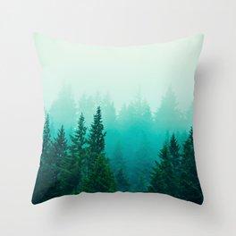 Fog Foggy Samish Forest Woods Mountain Northwest Washington Landscape Throw Pillow