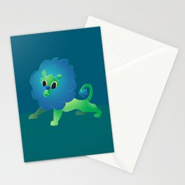 Cute Green Baby Cartoon Lion Stationery Cards