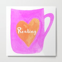Reading mug, Bookish Mug, Bibliophle, Bookish Art, Bookstagram, Reading Metal Print
