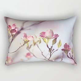 Pink Dogwood Flower Photography, Pastel Lavender Floral, Spring Nature Art Rectangular Pillow