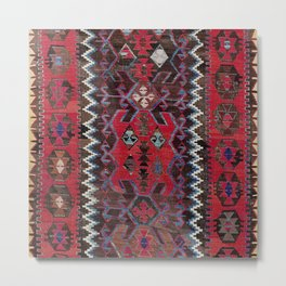 Obruk Konya Turkish  Antique Kilim Rug Metal Print