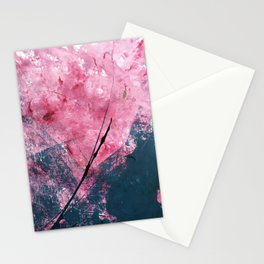 Orchid: a bright abstract mixed media piece in blue, pink, and, black Stationery Cards